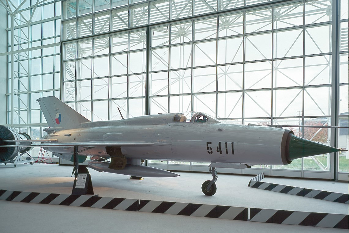 The Museum's MiG-21 PFM Fishbed-F on display in the Great Gallery