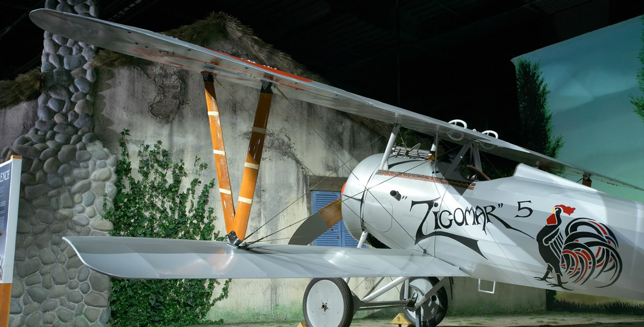 The Museum's Nieuport 24bis Reproduction on display in the Personal Courage Wing (Photo by Heath Moffatt)