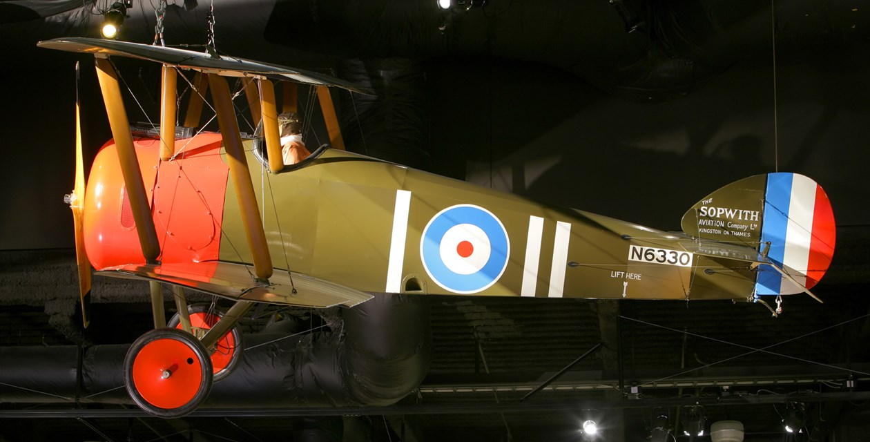 The Museum's Sopwith Camel F.1 Reproduction on display in the Personal Courage Wing (Photo by Heath Moffatt)