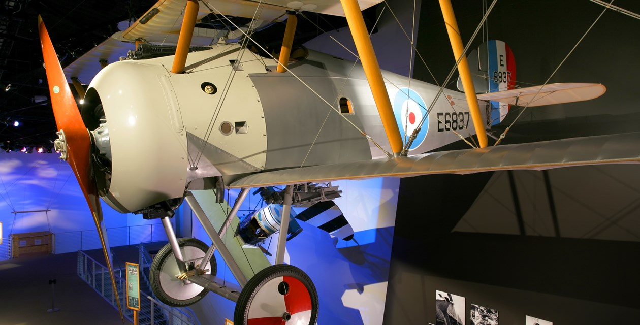 The Museum's Sopwith Snipe (7F.1) Reproduction on display in the Personal Courage Wing (Photo by Heath Moffatt)