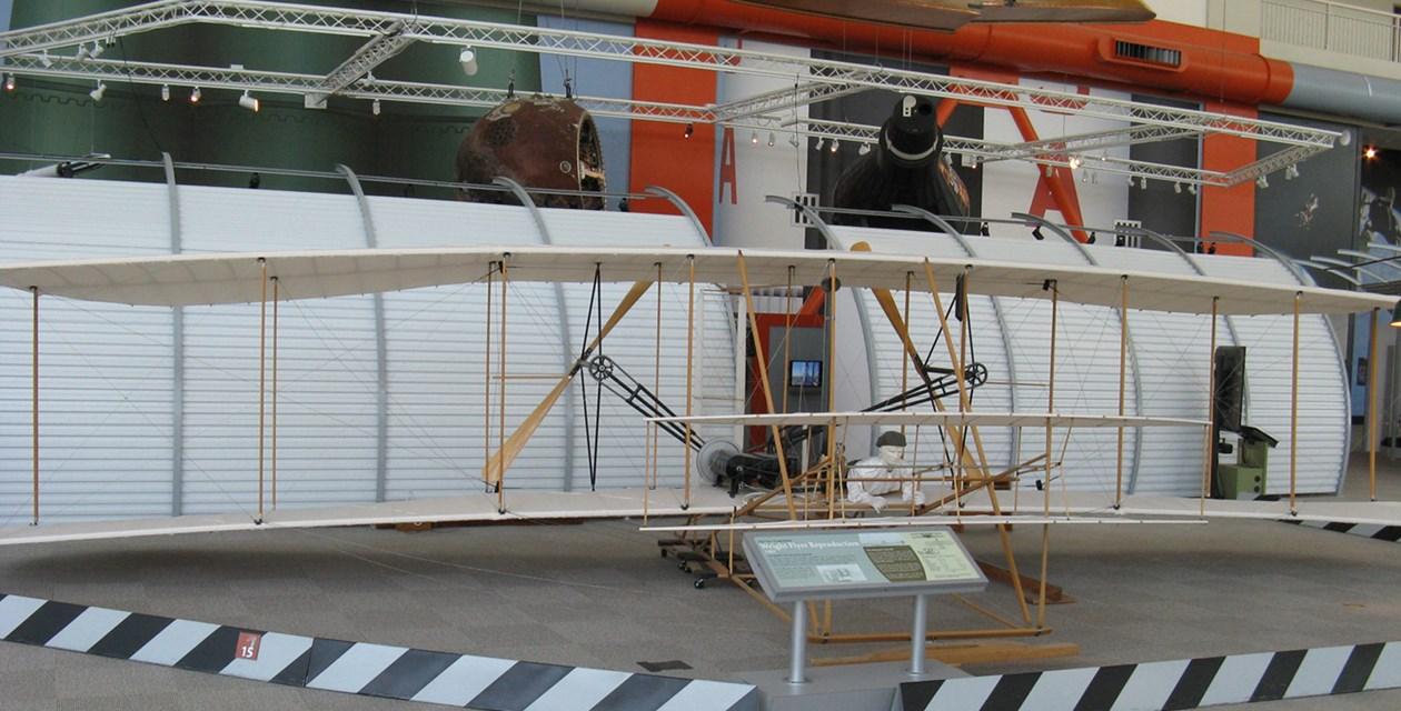 The Museum's Wright 1903 Flyer Replica on display in the Great Gallery