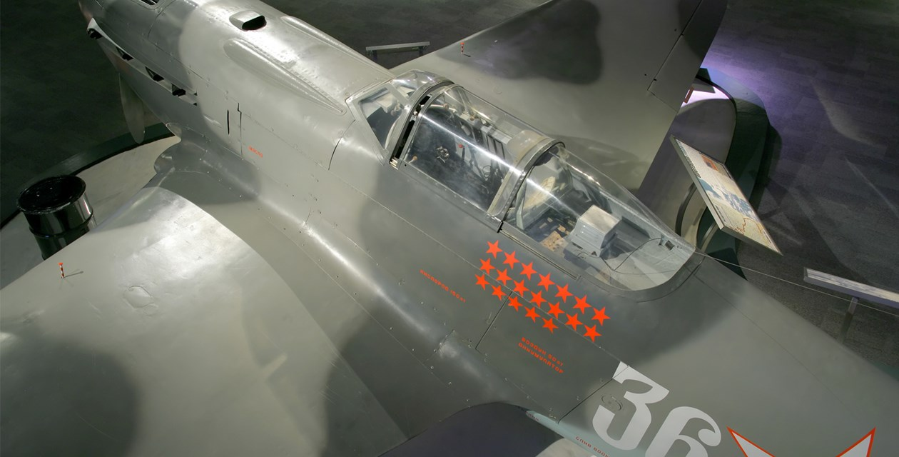 The Museum's Yakovlev Yak-9U Frank on display in the Personal Courage Wing (Photo by Heath Moffatt)
