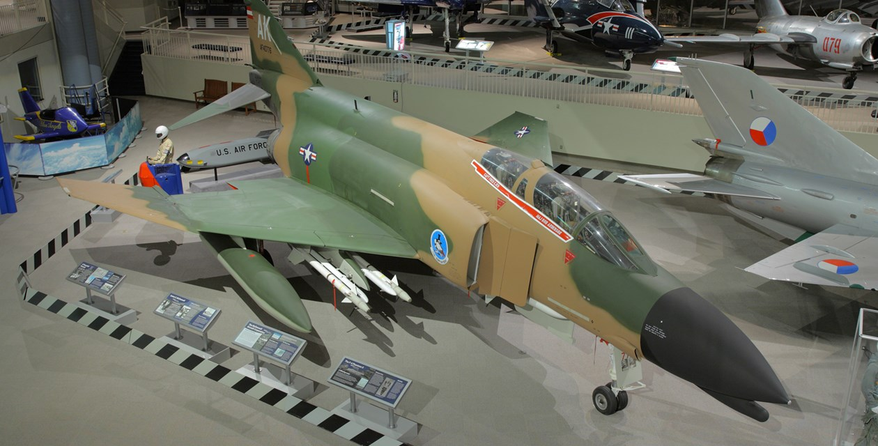 The Museum's McDonnell F-4C (F-110A) Phantom II on display in the Great Gallery (Photo by Heath Moffatt)