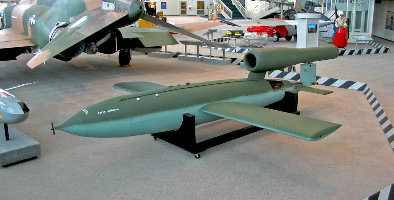 The Museum's Fieseler Fi 103 on display in the Great Gallery